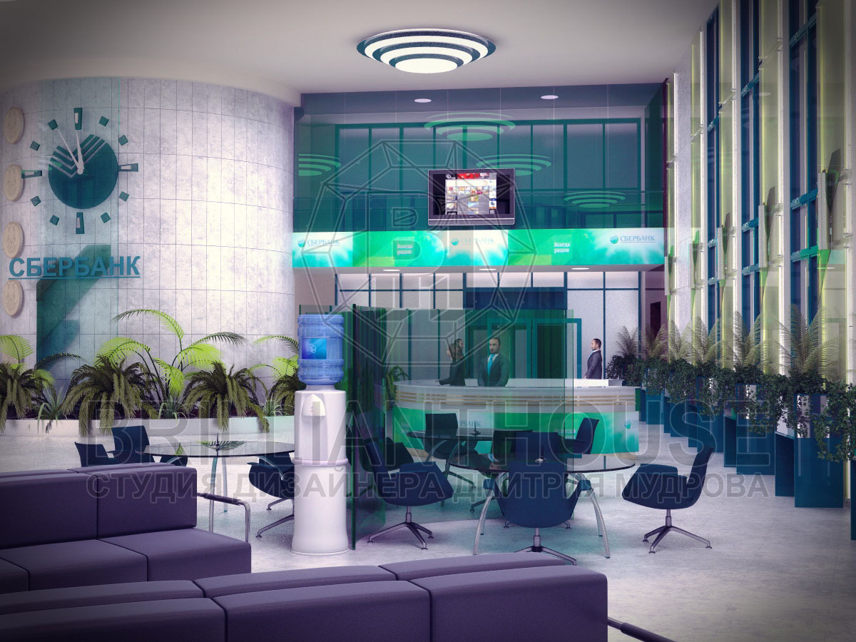 Дизайн холла сбербанка
