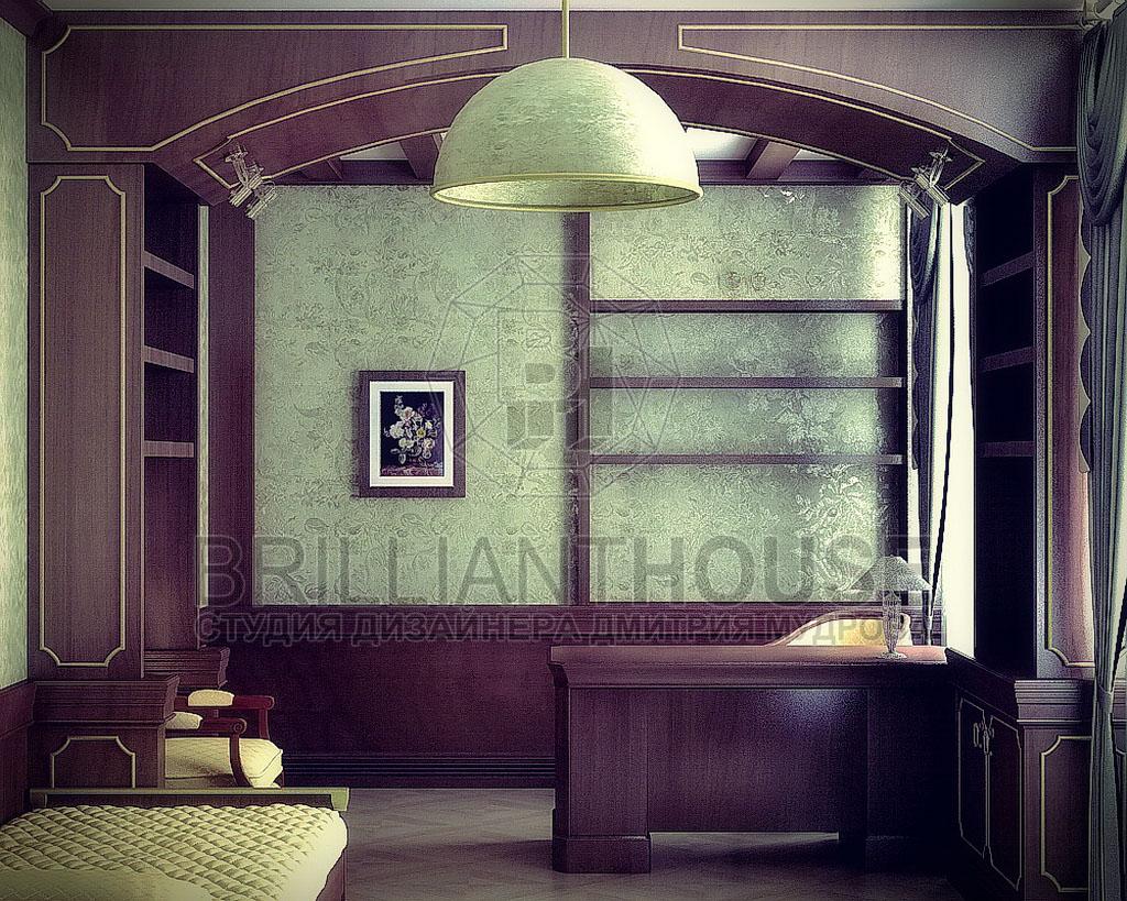 Дизайн гостиной с кабинетом