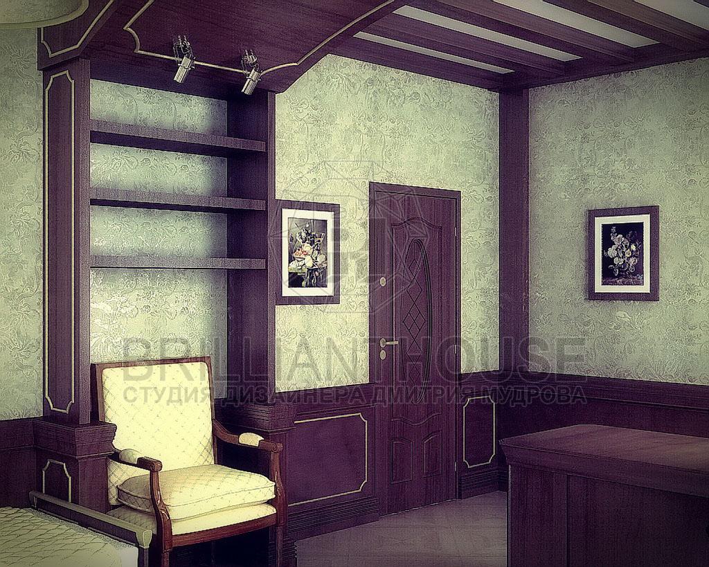 Интерьер гостиной совмещенный с кабинетом