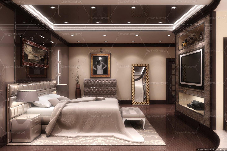 Интерьер спальни прямоугольной
